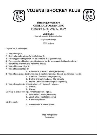 Generalforsamling 2020 Dagsorden