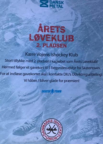 "2. PLADSEN I ""ÅRETS LØVEKLUB"" 🏒💙"